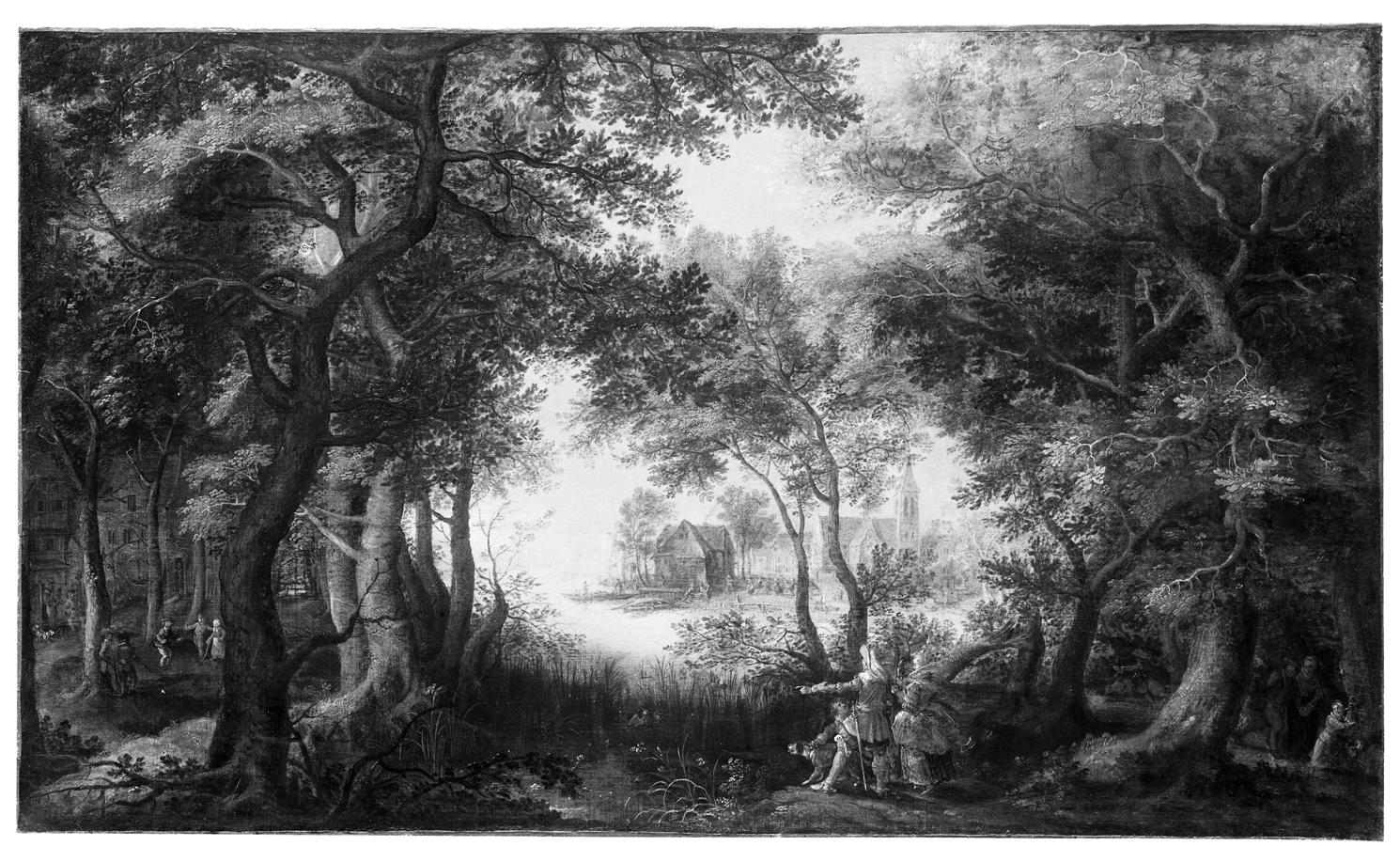 Flusslandschaft mit Laubwald