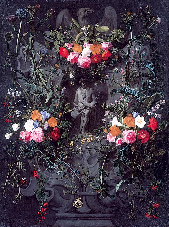 Blumengirlande mit Christus in der Rast