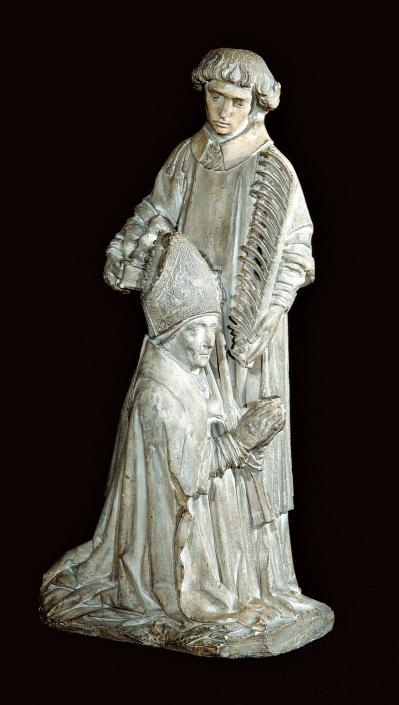 Kniender Bischof mit dem Heiligen Stephanus als Fürbitter